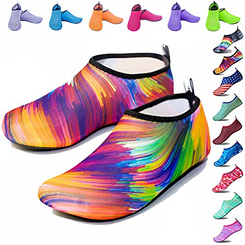 Peicees Mens and Womens Water Shoes Quick Dry Dive Beach Aqua Water Socks Upgraded Skin Shoes Booties for Beach Swim Snorkeling Surf Yoga Exercise Sunset
