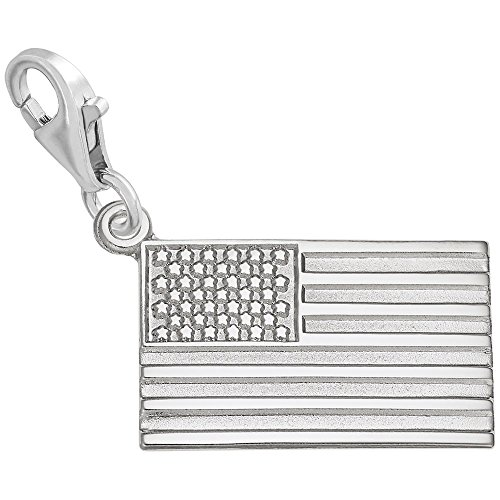 Gold American Flag Charm (14k White Gold American Flag Charm With Lobster Claw Clasp, Charms for Bracelets and Necklaces)