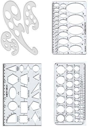 Set 4 Stencil Plantillas círculo elipse geometría /& francés curvas Arte gráficos