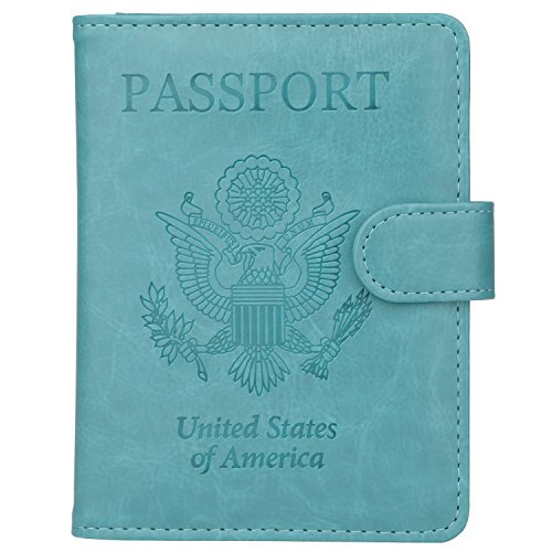 GDTK Leather Passport Holder Cover Case RFID Blocking Travel Wallet (Sky Blue #2)