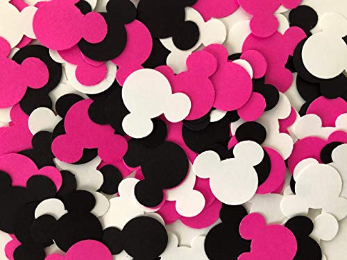 100 Mickey & Minnie Mouse Pink Black & White Party Confetti Die Cuts Table -