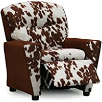 Kids Recliner Chair, Upholstered Childrens Reclining Armchair With Cup Holder, Two Faux Cowhide Fabric Choices Your Child Will Love, Cool Girls & Boys Gender Neutral Seating, Chocolate