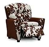 Faux Cowhide Kids Toddler Recliner Chair, Upholstered Children's Reclining Armchair With Cup Holder, Cool Girls Boys Gender Neutral Seating, For Urban Western Industrial Farm Decor, Designer Youth Furniture