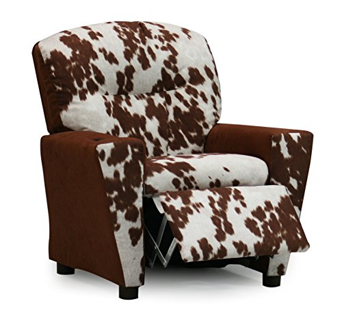Faux Cowhide Kids Toddler Recliner Chair, Upholstered Children's Reclining Armchair With Cup Holder, Cool Girls Boys Gender Neutral Seating, For Urban Western Industrial Farm Decor, Designer Youth Furniture by M Brands