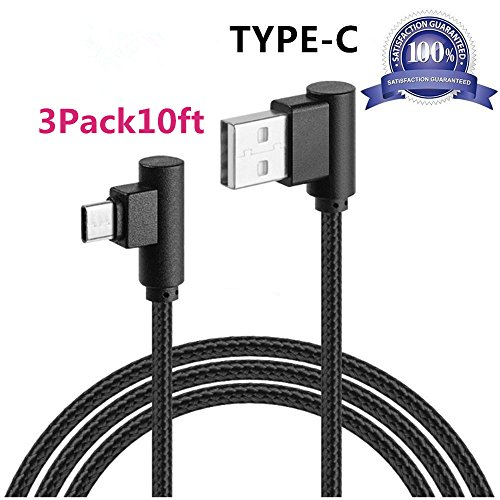 USB 90 Degree Type C Cable, VPR Right Angle USB to Micro USB Fast Charger Cord nylon braided for Samsung Galaxy S8/ S8+ Plus, Note 8, Z981, LG G6 G5, Nintendo Switch, Nexus 6P 5X (Black3Pack10ft)