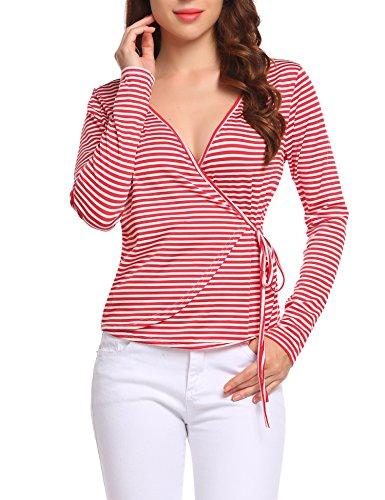 Unibelle Women's Casual V Neck Long Sleeves Wrap Front Surplice Shirt