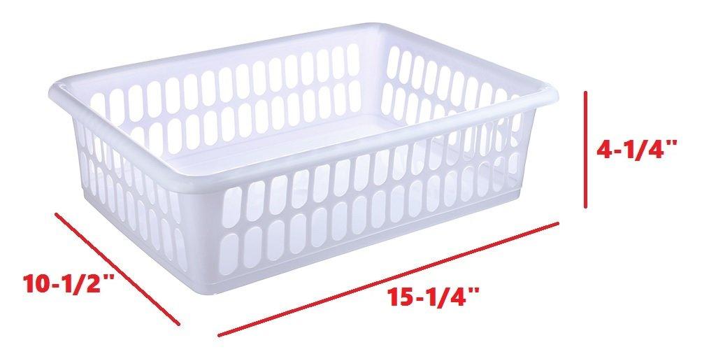 Zilpoo 6 Pack - Plastic Storage Organizing Basket, Cabinet Shelf Kitchen Drawer Refrigerator, Freezer Organizer Bins, 15'' x 10'', White by Zilpoo (Image #3)