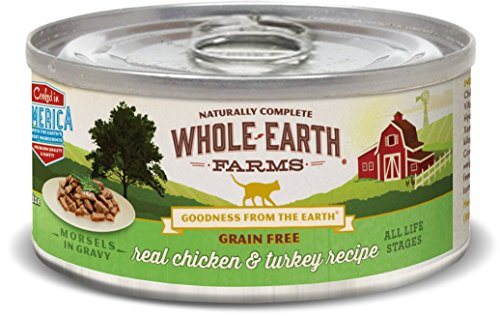 Whole Earth Farms 86019 Grain Free Real Morsels In Gravy Chicken & Turkey Wet Cat Food, 5 Oz, Case Of 24