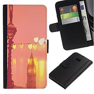 KLONGSHOP / Tirón de la caja Cartera de cuero con ranuras para tarjetas - Big Ben Hearts Peach Pink London England - HTC One M8
