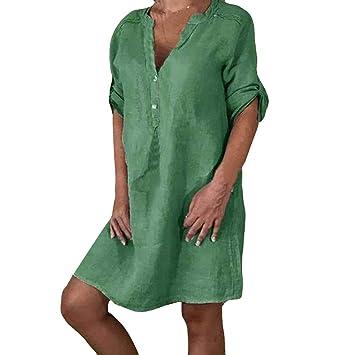 SMILEQ Tallas Grandes Vestido para Mujer Falda sólida Vintage ...