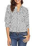 Palove Women's Long Sleeve Casual Loose Polka Dot Shirt Chiffon Work Blouse, White/XL
