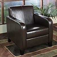 Armen Living 1400 Brown Leather Club Chair