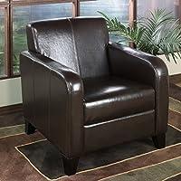 Armen Living 1400 Brown Leather Club Chair