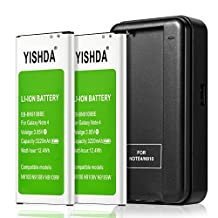 Galaxy Note 4 Battery Kit, YISHDA 2X Phone Batteries Replacement for Samsung Galaxy Note 4 [3220 mAh] with Galaxy Note 4 Spare Battery Charger [18 Month Warranty]