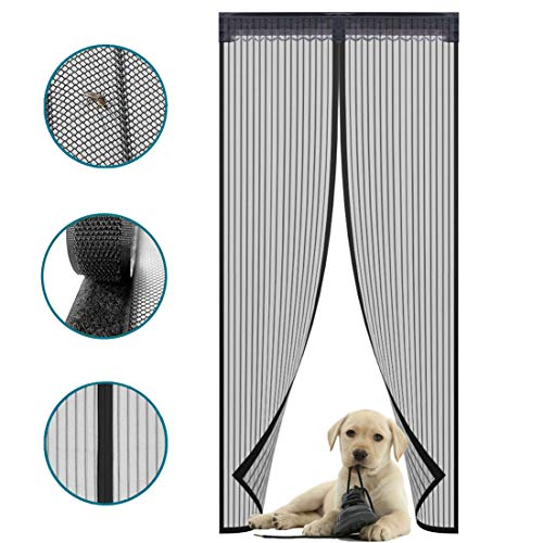 Magnetic Screen Door with Durable Polyester Anti Mosquito Bugs Mesh Curtain Easy to Install Full Frame Velcro, Fits Door Size up to 36
