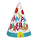 Unique Birthday Jamboree Party Hats (8 Count), Multicolor