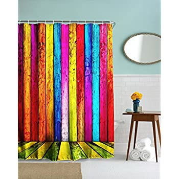 Goodbath Rustic Colorful Wooden Door Shower Curtain  Mildew Mold Resistant  Waterproof Bathroom Shower Curtains  72 x 72 Inch  Pink Blue Orange YellowAmazon com  COMROLL Colorful Tree Shower Curtain Tree of Life  . Yellow And Teal Shower Curtain. Home Design Ideas