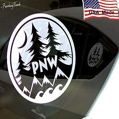 Byzee PNW Decal Round Vinyl Window Laptop Water Proof Water Bottle Sticker Graphic 4