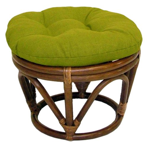 - 18-Inch Bali Rattan Papasan Footstool with Cushion - Solid Outdoor Fabric, Lime - DCG Stores Exclusive