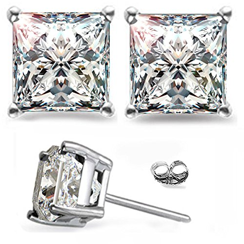 - RINGJEWEL Silver Plated Princess Real Moissanite Stud Earrings (2.46 Ct,Next To White Color,VVS1 Clarity)