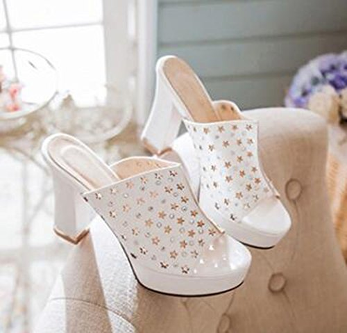 Easemax Womens Trendy Cut Out Rhinestones Starry Open Toe No Closure Platform High Chunky Heel Sandals White 6wexjQLS
