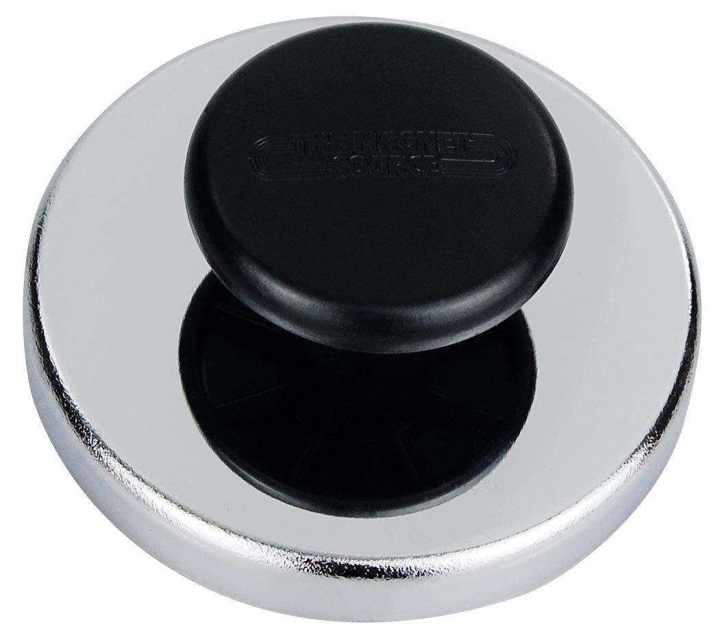 fino a 40 kg diametro 80 mm gancio magnetico 5 x Calamita con rivestimento cromato e pomello//maniglia calamita tonda