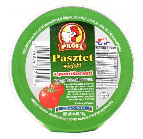 Profi Pasztete Village Pate with Tomatos, 4.6 oz, (Pack of 12)