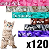 120 pcs Soft Cat Claw Caps Cats Nail Claws 6X Colors + 6X Adhesive Glue + 6X Applicator - Pet Cap Tips Cover Paws Grooming Soft Covers (M - Light Pink - Pearl White - Turquoise - Brown - Grey - Violet)