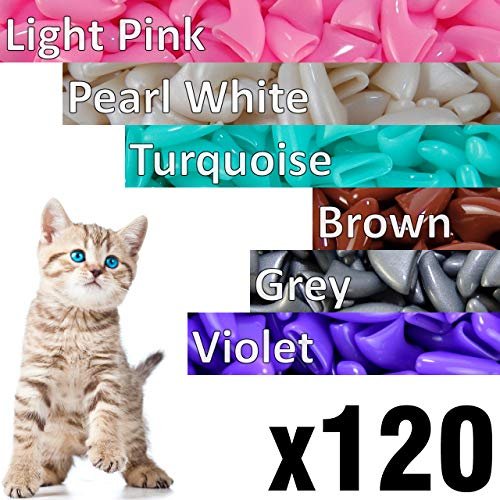120 pcs Soft Cat Claw Caps Cats Nail Claws 6X Colors + 6X Adhesive Glue + 6X Applicator - Pet Cap Tips Cover Paws Grooming Soft Covers (L - Light Pink - Pearl White - Turquoise - Brown - Grey - Violet)
