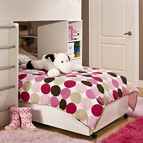 South Shore Furniture, Logik Collection, Twin Lower Bunk on Casters, Pure White (Loft Lower Collection Bunk)