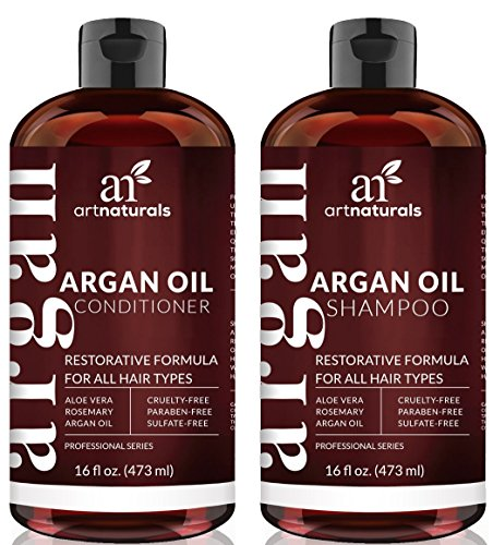 Art Naturals Organic Moroccan Argan Oil Shampoo and Conditioner Set (2 x 16 Oz) – Sulfate Free – Volumizing & Moisturizing, Gentle on Curly & Color Treated Hair,For Men & Women Infused with Keratin