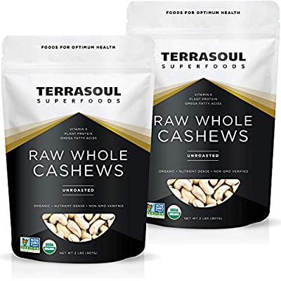 Terrasoul Superfoods Organic Raw Whole Cashews, 4 Pounds