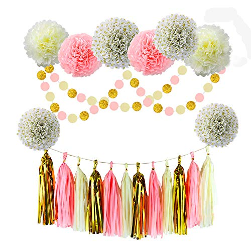 Pink Gold Cream Baby Shower Decorations Party Favors Glitter Gold Polka Dot Tissue Paper Flowers Pom Poms Tassel Garland Party Supplies for Girl Teen First Birthday Bridal (Gold-Pink-Cream)