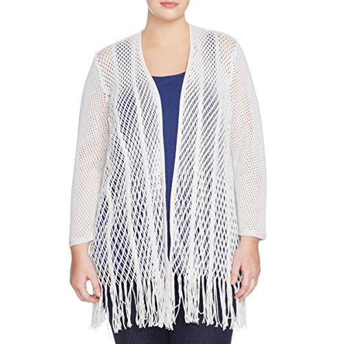 Nic + Zoe Womens Plus Enchanted Open Stitch Fringe Cardigan Sweater White 2X