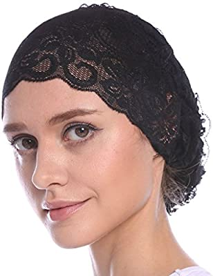 YI HENG MEI Women's Elegant Strench Sheer Lace Pleated Flower Muslim Cap Cancer Chemo Cap in 9 Colors