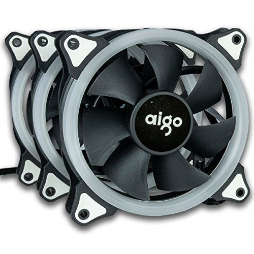 CUK Aigo R3 3-Pack RGB 120mm Adjustable LED Color Computer Case Fan for CPU Coolers and Radiators - Quiet Edition High Airflow Hydraulic Bearing by Computer Upgrade King