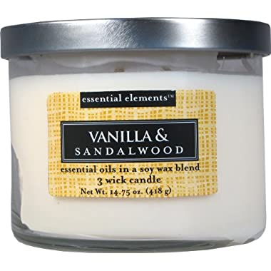 Candle-lite Essential Elements 14-3/4-Ounce 3 Wick Candle with Soy Wax, Vanilla and Sandalwood