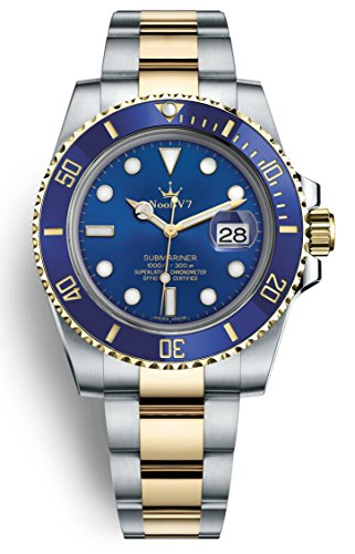 Swiss REP V7 Crown Iconic Sub Date Automatic Watch Sapphire 316L Stainless Steel Gold Two Tone Blue Dial Ceramic Bezel ()