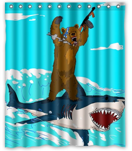 Bear With Riding Shark Never Stop Dreaming Stylish Living Bathroom Shower Curtain 60 X 72 Amazoncouk Kitchen Home