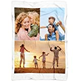 Personalized Throw Blanket 3 Images Collage Full Color. Custom from Your Photos. Fleece Blanket Super Soft for Baby & Adult. Great Wedding Gifts (Fleece, 50'' x 60'')