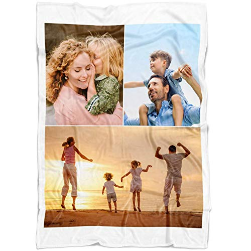 Personalized Throw Blanket 3 Images Collage Full Color. Custom from Your Photos. Fleece Blanket Super Soft for Baby & Adult. Great Wedding Gifts (Fleece, 50'' x 60'') ()