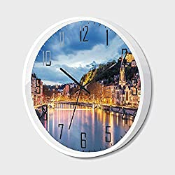Non Ticking Wall Clock Silent with Metal Frame HD Glass Cover,European,View of Saone River in Lyon City at Evening France Blue Hour Historic Buildings,for Office,Bedroom,16inch