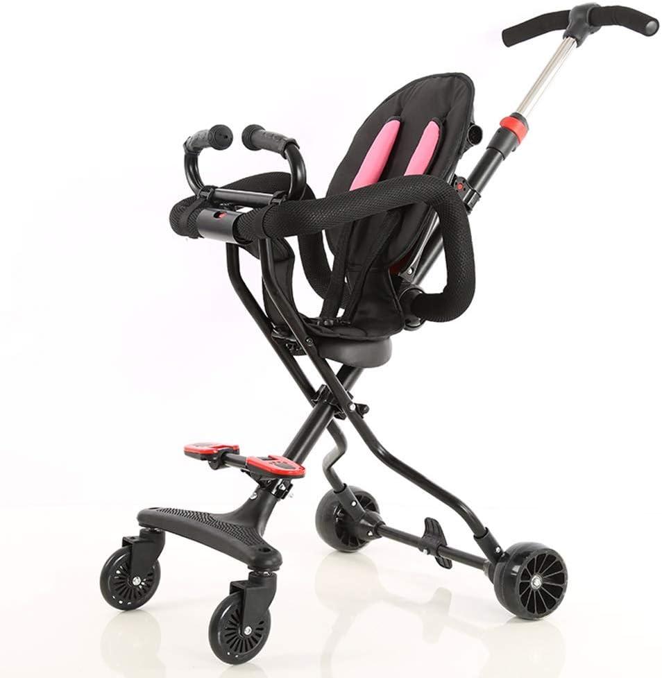 SONG Sillas de paseo Bebé Resbaladizo De Cuatro Ruedas Carro Reclinable Plegado Ligero Saca Al Bebé Combinación Interior Y Exterior (Color : Pink)