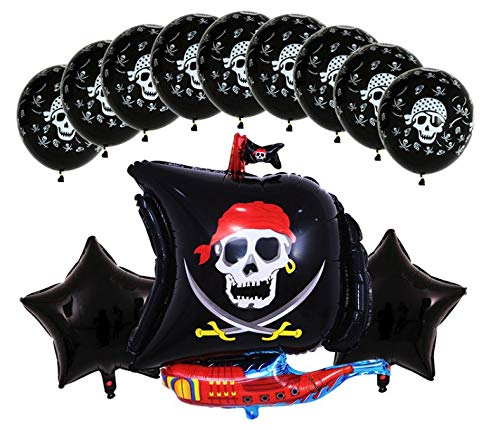 Pirate Ship Birthday Party Balloons - Decorations for Kids Theme Parties - Pirates Skull & Cross Bones - Latex Balloon Supply Set - Helium Quality Black Mylar Boat - Decoration Supplies by Jolly Jon ® -