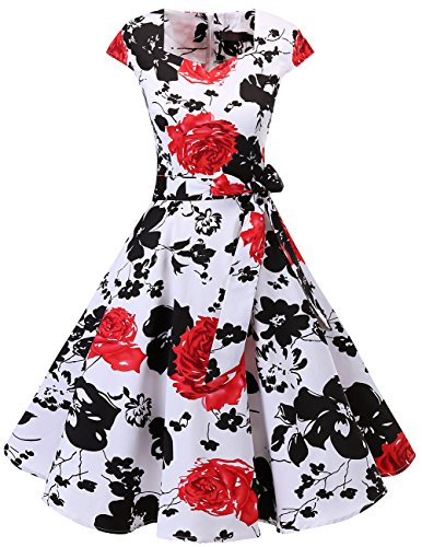 DRESSTELLS Retro 1950s Cocktail Dresses Vintage Swing Dress with Cap-Sleeves White Red Flower S ()