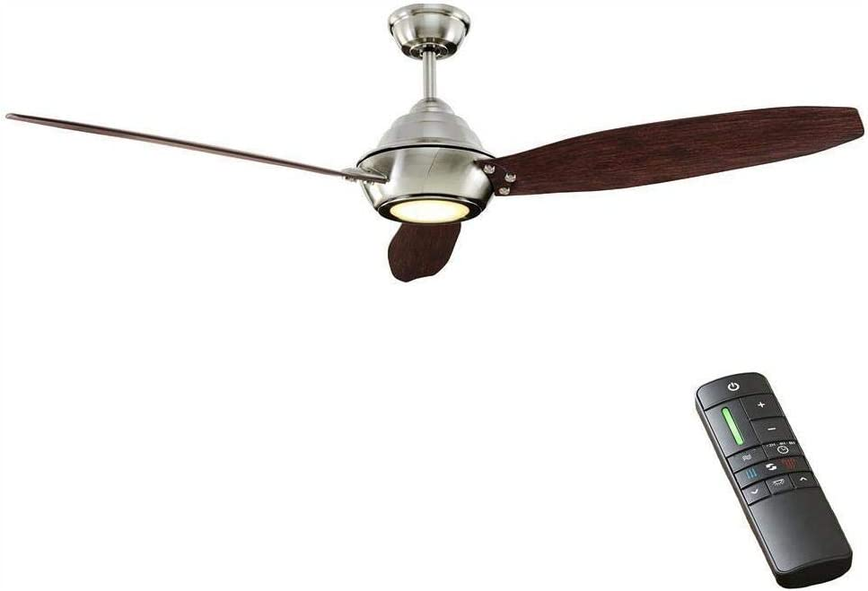 Home Decorators Collection Aero Breeze 60 Inch Integrated LED Indoor/Outdoor Brushed Nickel Ceiling Fan with Light Kit and Remote Control
