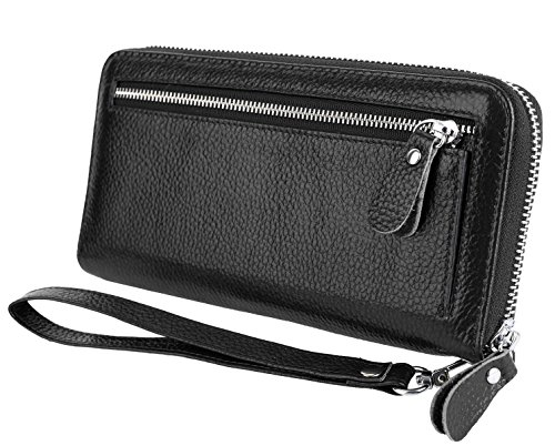 Zippered Wallet (YALUXE Women's Leather RFID Security Zipper Wallet with Wristlet Strap for Card Passport Phone Black)