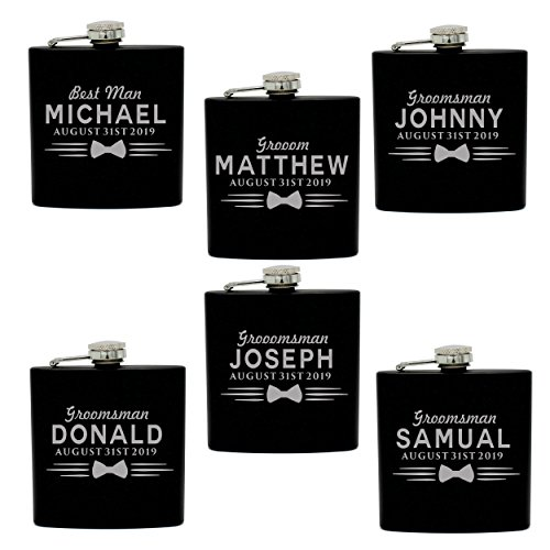 Set of 4, Set of 7 and more Custom Personalized Black Matte Flasks for Groomsmen Gifts - Uniform Style -
