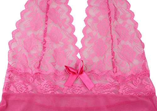 Kiminana Women Lingerie Lace Babydoll V Neck Sleepwear Strap Chemise Deep V Lingerie Lace Babydoll Mini Bodysuit(US Stock)