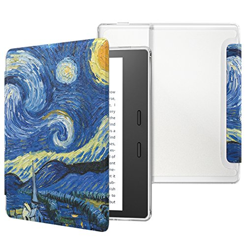 MoKo Case Fits All-New Kindle Oasis (9th and 10th Generation ONLY, 2017 and 2019 Release), Slim Lightweight Cover with Translucent Frosted Back Protector - Starry Night
